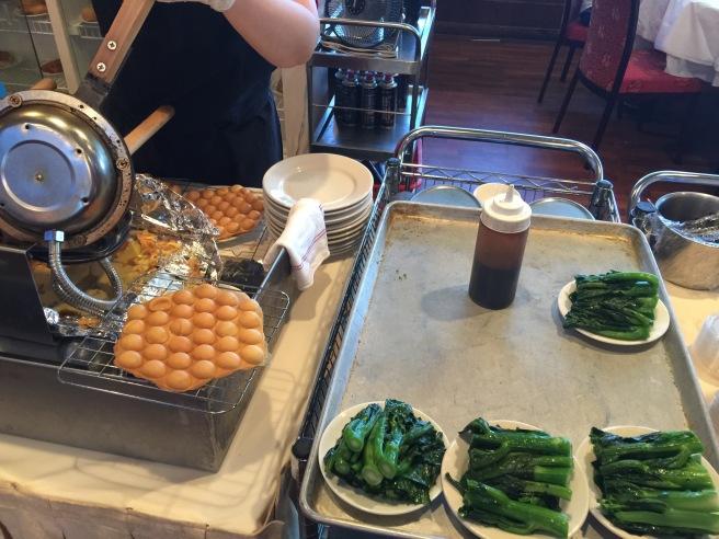 """waffle cake"" and Chinese brocolli"