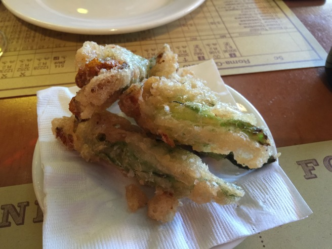 Fried squash blossoms with ricotta