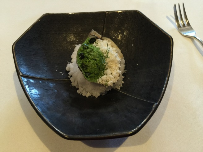 Shigoku oyster with horseradish and wasabi powders