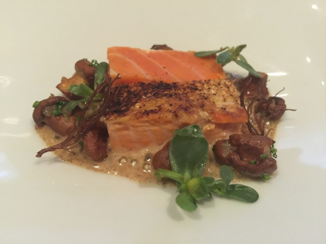 Salmon Belly with chanterelle, nori brown butter and red ogo