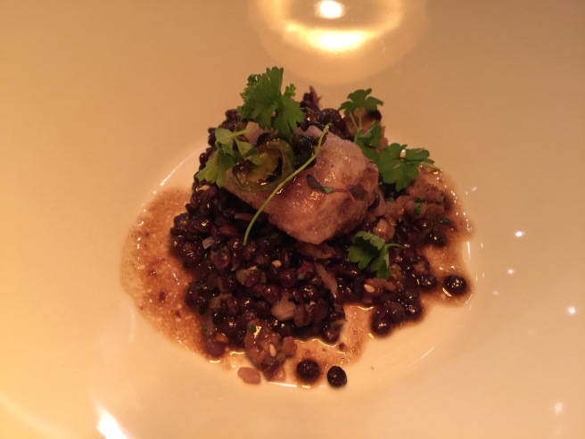 Agedashi bone marrow, black lentil