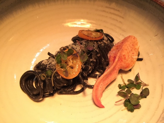 Squid ink spaghettini, butter poached main lobster claw