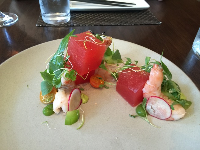 watermelon salad with poached shrimp, avocado, jalapeño, nuoc cham, herbs