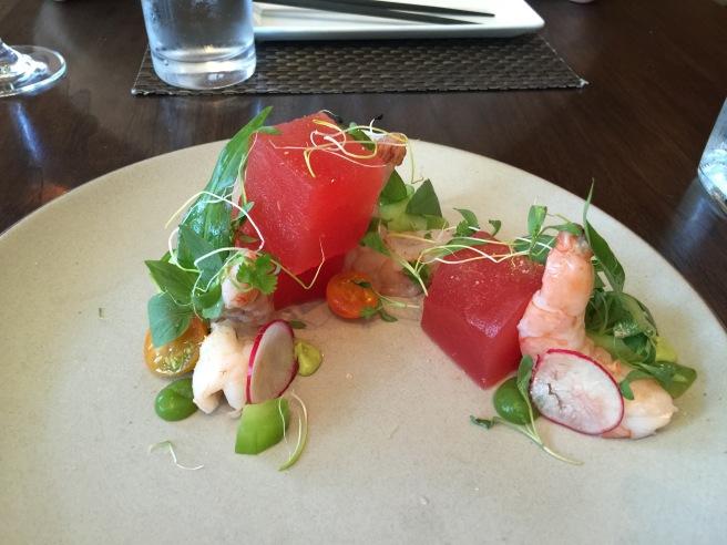 watermelon salad with poached shrimp, avocado, jalapeño, nuoc cham, herbs