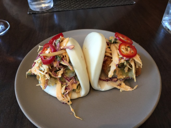 "soft shell crab bao with ""red fire"" aioli, pickled fresno chile, cabbage slaw"