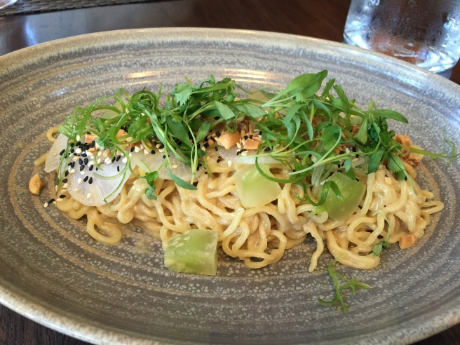 Cold noodle salad with gomae dressing, pickled cucumber, sesame, peanuts