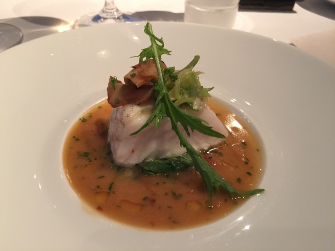 Wild Alaskan Halibut: Summer pole beans, lobster mushrooms, sauce grenobloise