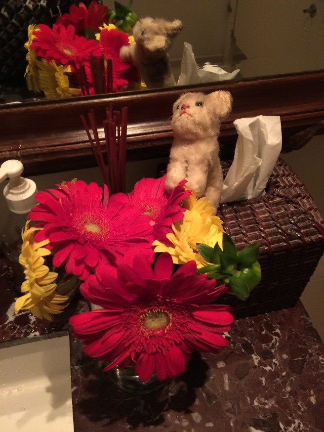 Frankie liked the bathroom flowers