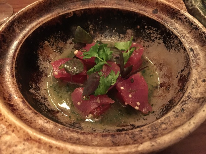 Akami te: big eye tuna, watermelon and fish sauce