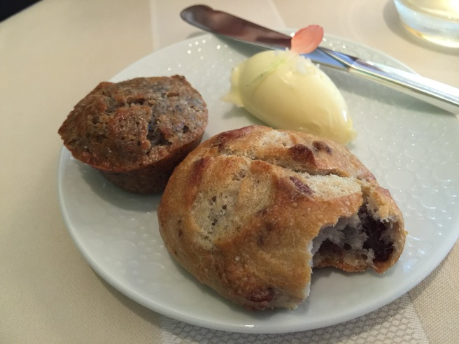 Blueberry muffin and pecan dinner roll