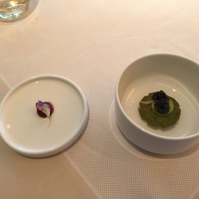 Poblano infladito, black bean mousse, Tennessee wild paddlefish caviar