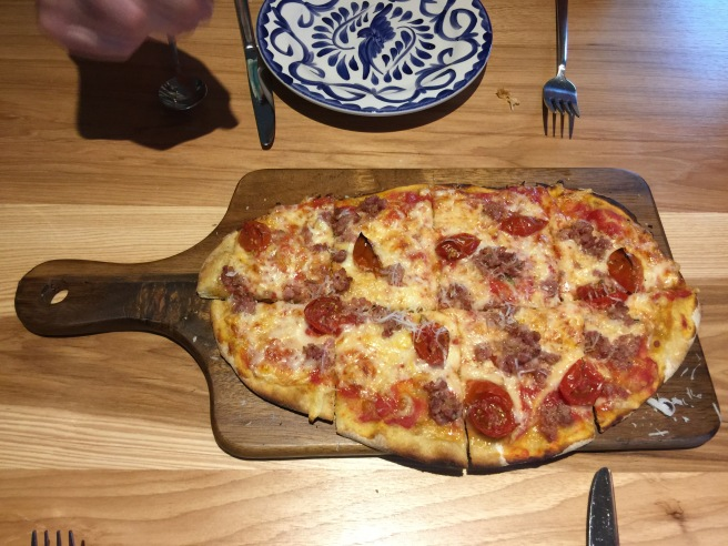 Pizze Al Taglio: Fennel sausage, cherry tomato, caciocavallo, chili