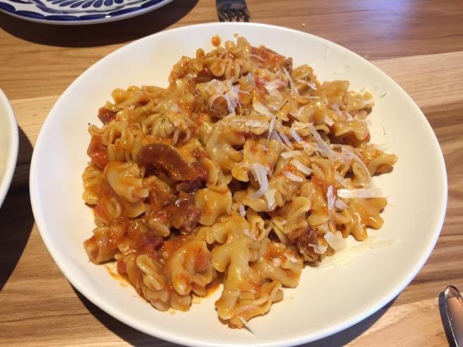 Mafalda: pancetta, tomato, pecorino, chili