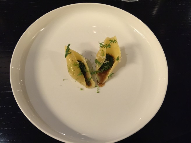 Conhiglioni pasta filled in with yarrow herb, horseradish, ginger veal sauce