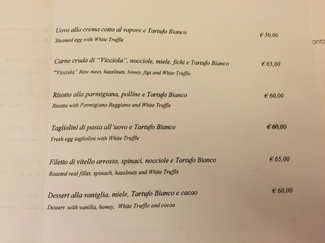 truffle supplements menu