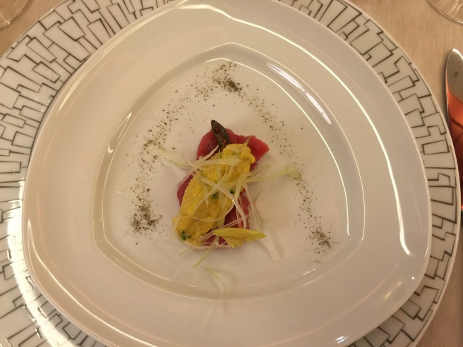 "Raw ""Vicciola"" meat, dried cod sauce, celery and capers"