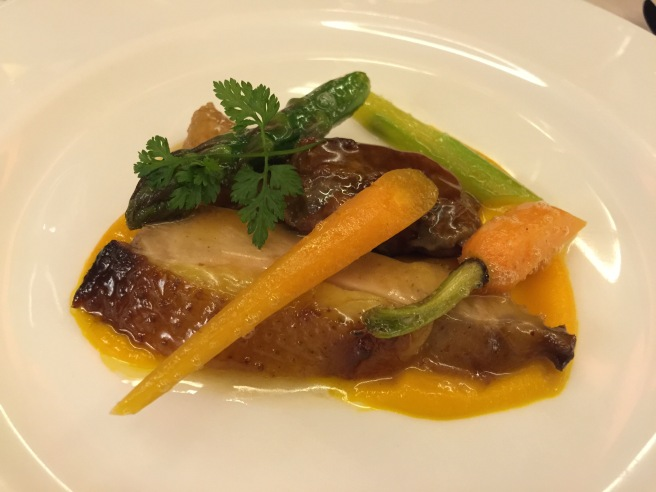 Guinea fowl with lemon, asparagus and carrots
