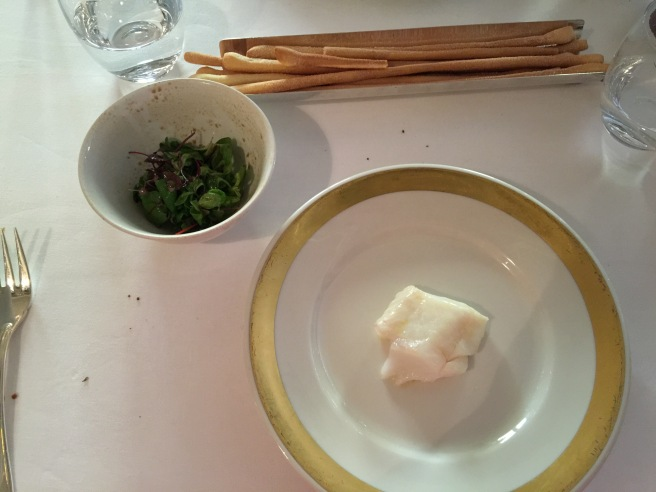 Smoked codfish with smoked salad on the eside