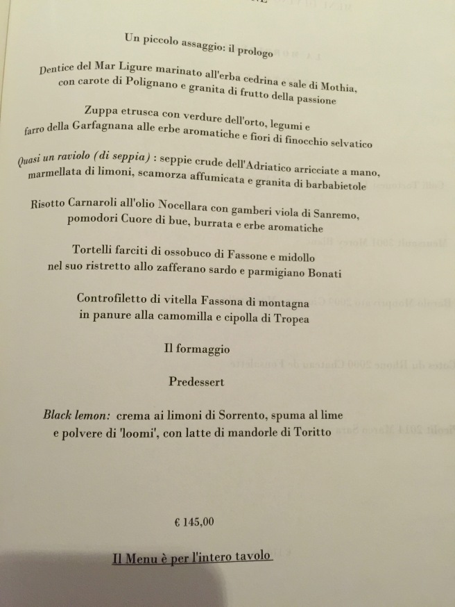 tasting menu in Italian