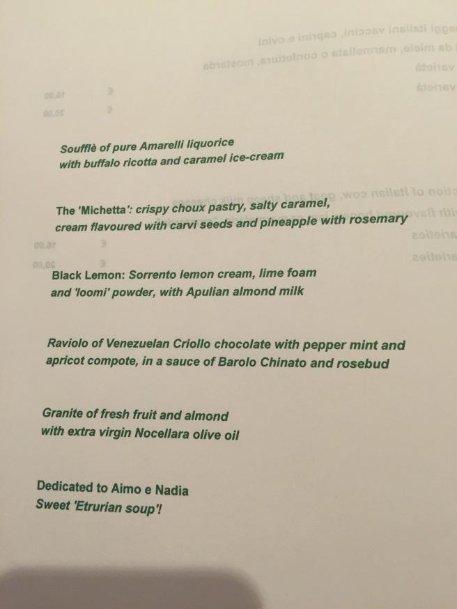 Dessert menu, Englis