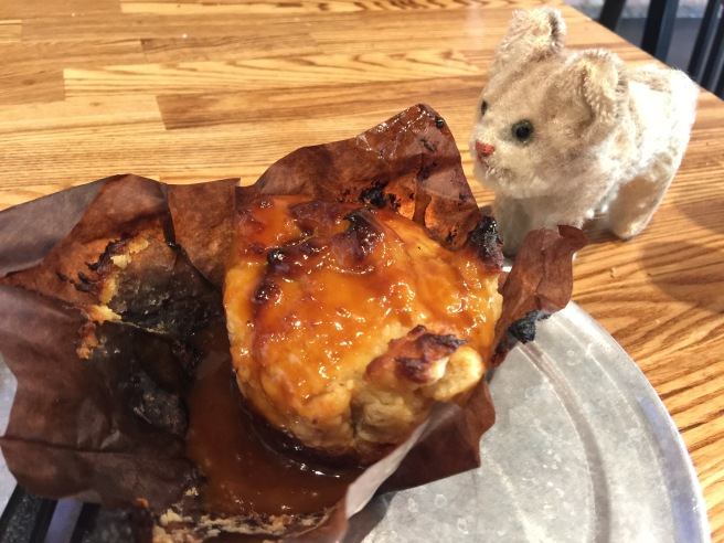 The caramel bread pudding and Frankie
