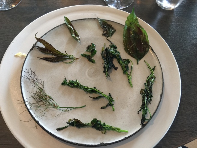 Charred greens with a scallop paste