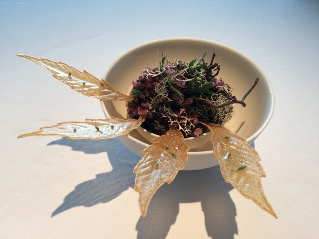 Jerusalem artichoke leaves, walnut oil and rye vinegar