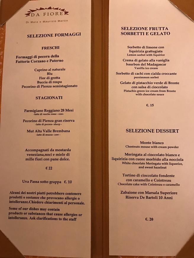 Cheese and dessert menu