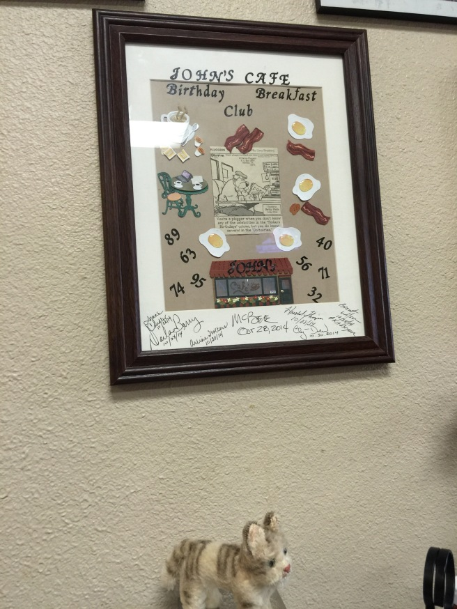 Frankie checked out some of the wall decorations