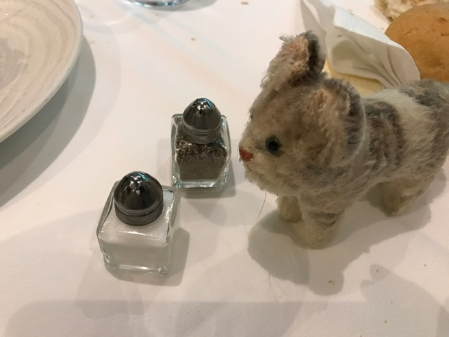 Frankie thought the salt and pepper were just her size
