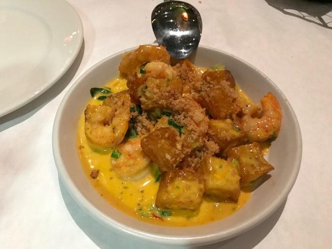 Louisiana Shrimp and Brabant Potatoes, basil and saffron aioli