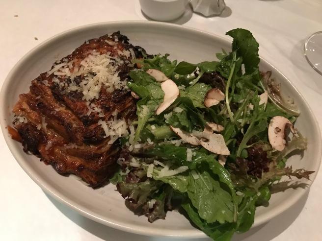 Lamb and Mushroom Lasagna with greens
