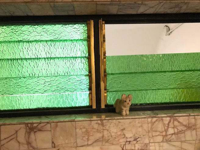 Frankie found some green glass louvers