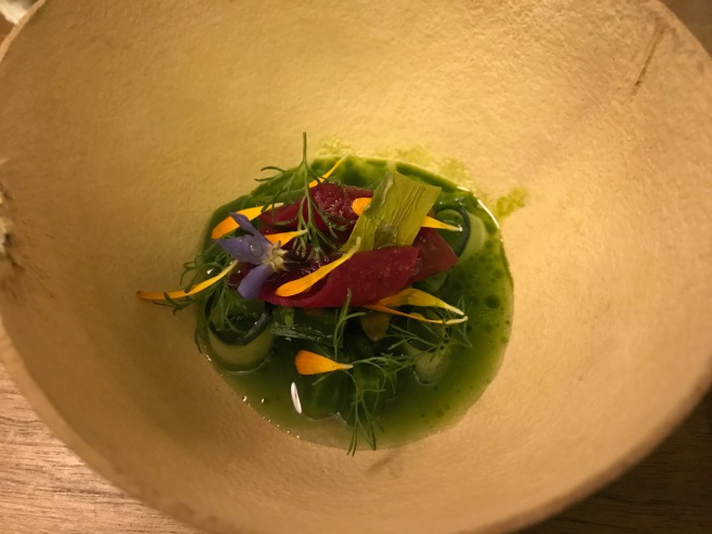 Cactus cebiche with beet root and mandarin