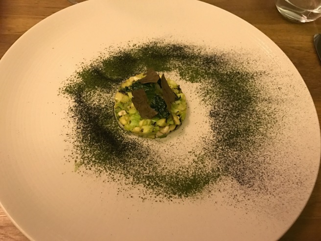 "Charred avocado tartare with ""escamoles"" and mexican herb chips"