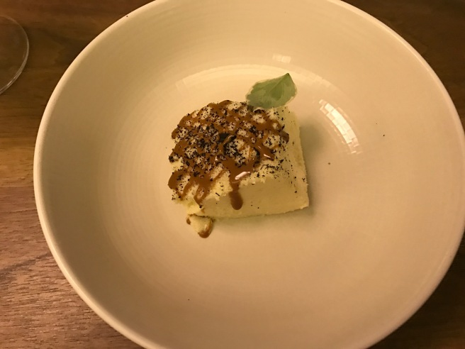 "Frozen mousse of roasted banana, ""cajeta"" and basil"