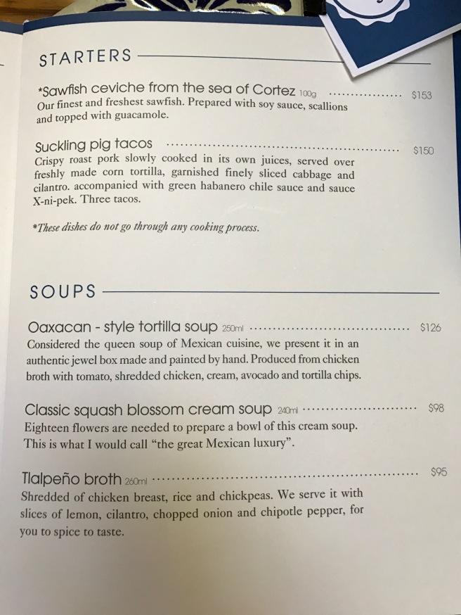 starter/soup menu