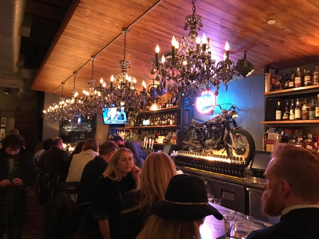 motorcycle in the bar area