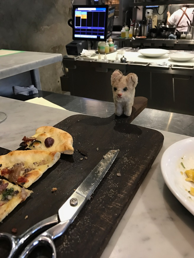 Frankie checked the view from the pizza board
