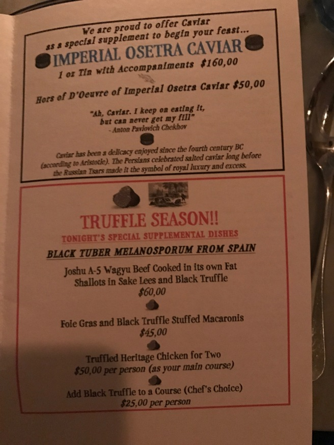 Caviar and truffle specials