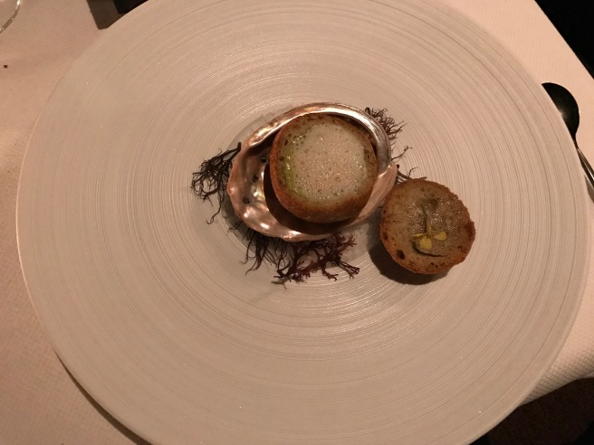 Monterey Bay abalone with green garlic, lardo and plankton