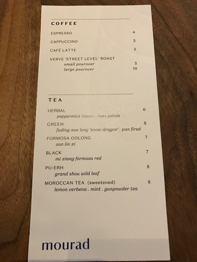 coffee/tea menu
