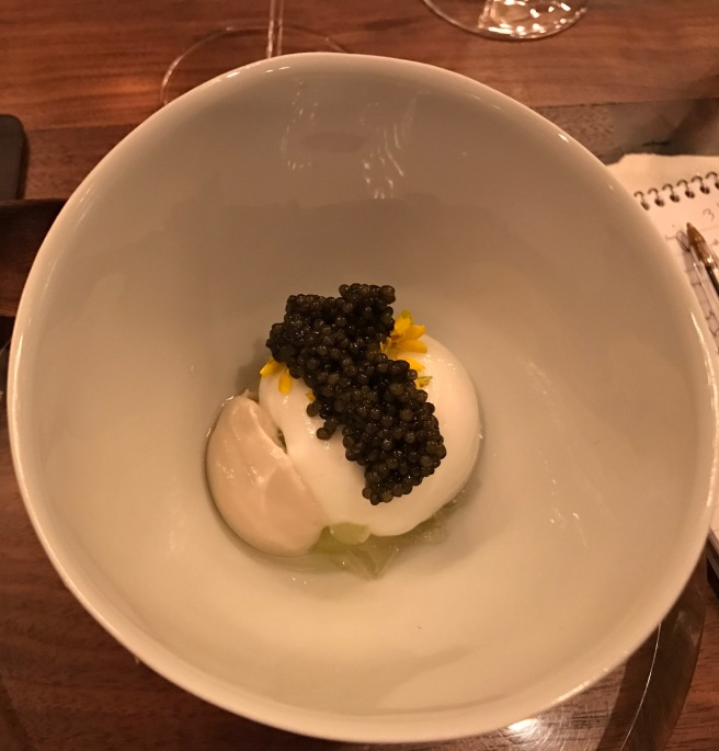 Caviar, sunflower, brown butter, apple