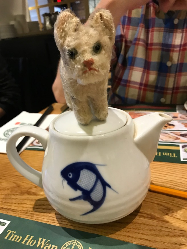 Frankie warmed up on the teapot