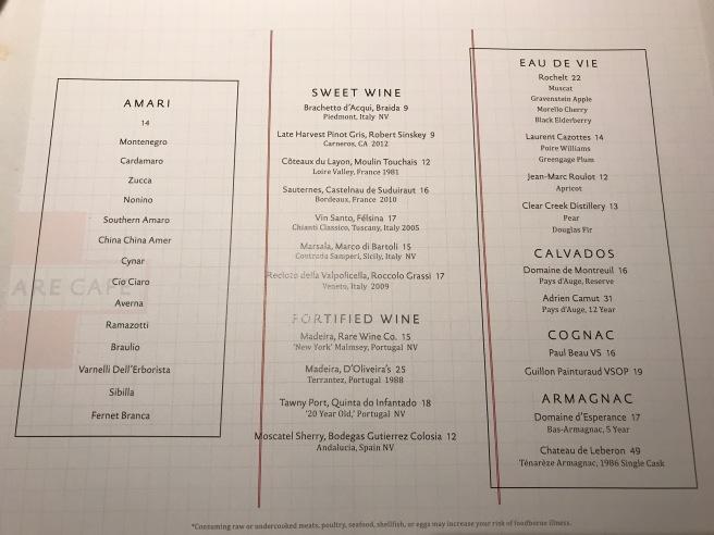 dessert beverage menu