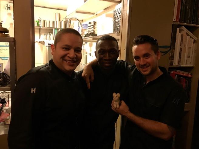 Kitchen crew: Gerard, Yaw, Arian with Frankie