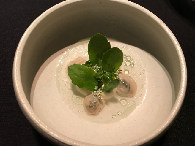 Oyster from Glidden Point, ME with green gooseberries and juniper
