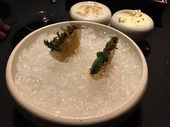 Kohlrabi compressed with linden leaf oil and linden flower vinegar, winter purslane