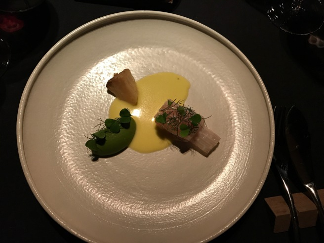 Skate: cured skate wing, celery root puree withits leaves, roasted clery root, unfiltereed rapeseed oil and flowering dill
