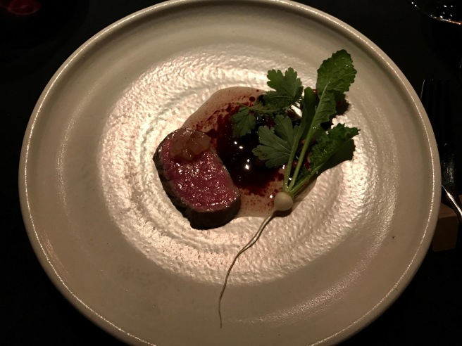 beef 120 day dry aged rib eye, preserved red and black currants from alst year, cured beef fat